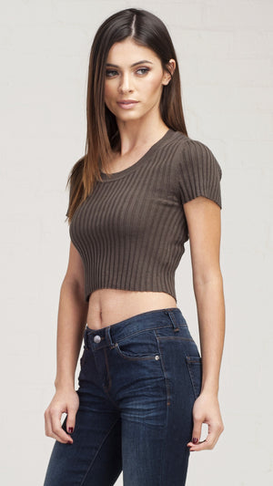 Ribbed Round Neck Short Sleeve Crop Top - Olive