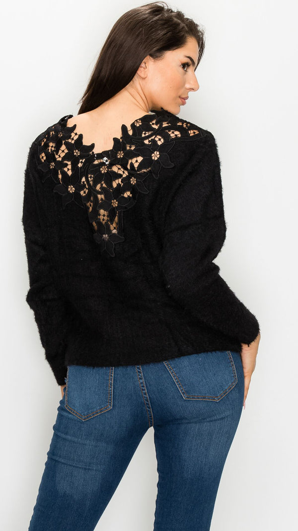 Crochet Inset Fuzzy Sweater