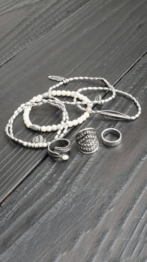 White Stone Bracelet & Ring Set
