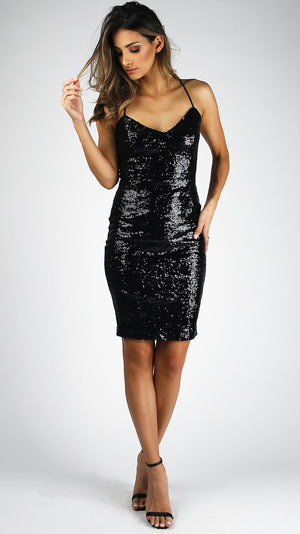 Sequin Shoulder Strap Dress