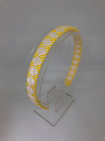 Alice Band - Yellow & White Gingham