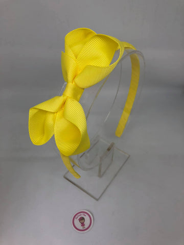 3inch Bow Alice Band - Lemon