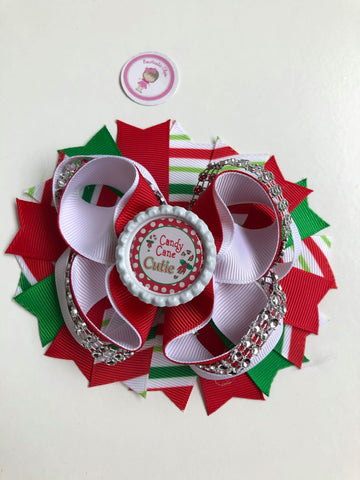 Christmas - 4.5inch Bottle Cap Bow - Candy Cane Cutie