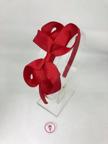 3inch Bow Alice Band - Red