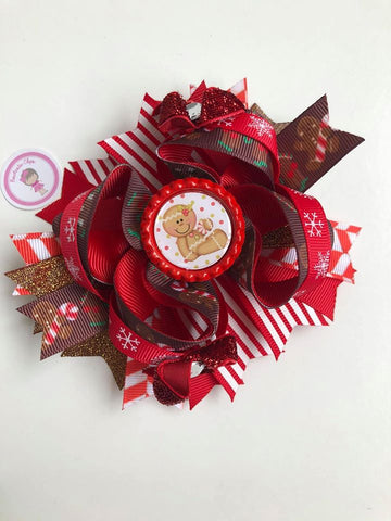 Christmas - 4.5inch Bottle Cap Bow - Gingerbread