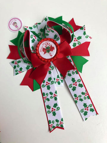 Christmas - 4.5inch Bottle Cap Bow - Merry Christmas - Tail