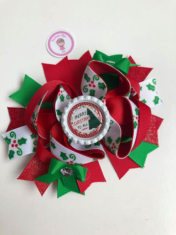Christmas - 4.5inch Bottle Cap Bow - Merry Christmas To All