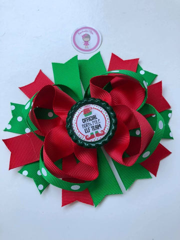 Christmas - 4.5inch Bottle Cap Bow - Official North Pole Elf Team