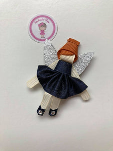 Christmas - Satin Fairy Novelty Clip - Navy Dress - Ginger Hair