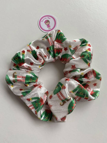 Velvet Scrunchie - Elf Print