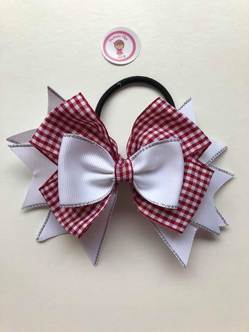 4.5inch Stacked Bobble - Burgundy & White Gingham