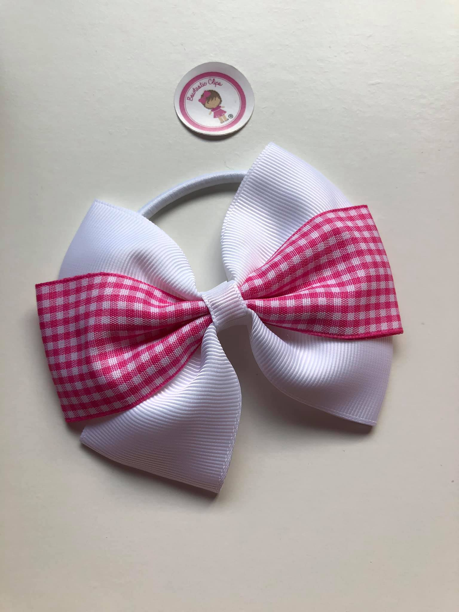 4inch Bow Bobble - Pink & White Gingham