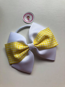 4inch Bow Bobble - Yellow & White Gingham
