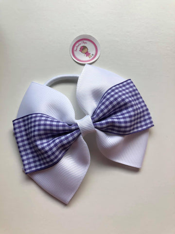 4inch Bow Bobble - Purple & White Gingham