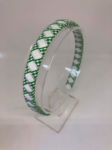 Alice Band - Green & White Gingham