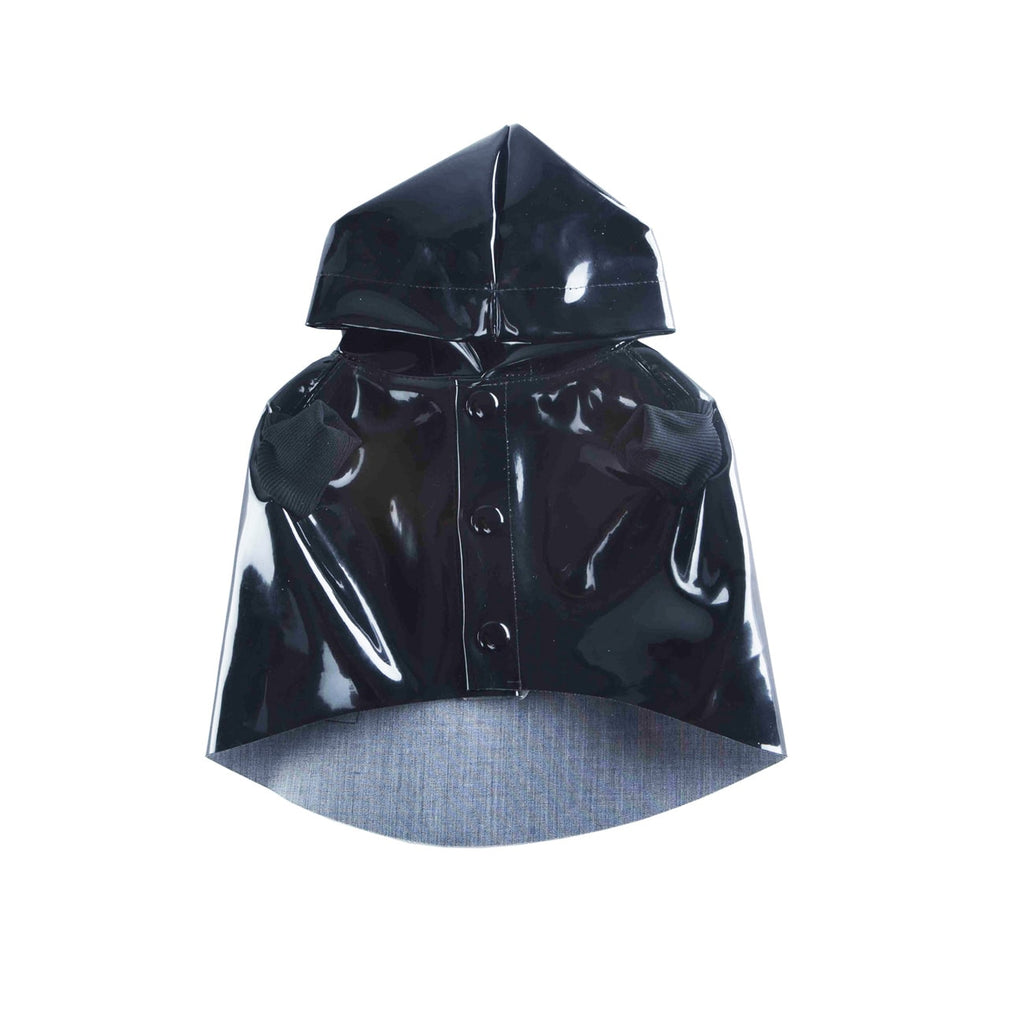 BLACK VINYL RAINCOAT