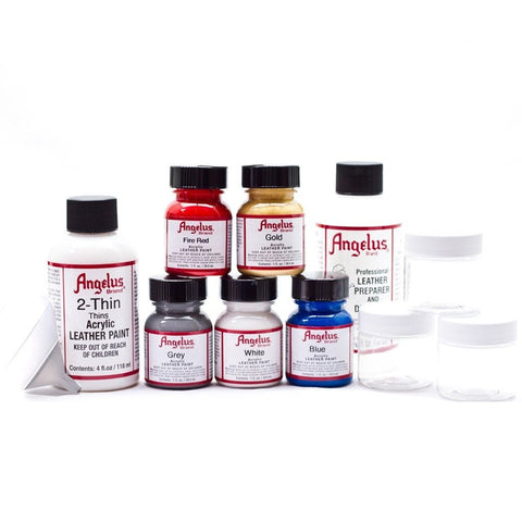 18b3d1558897 The customizable Airbrush Starter Kit is a great way to stock up on  everything your airbrush needs. The set lets you pick five Angelus Paints  of your choice ...
