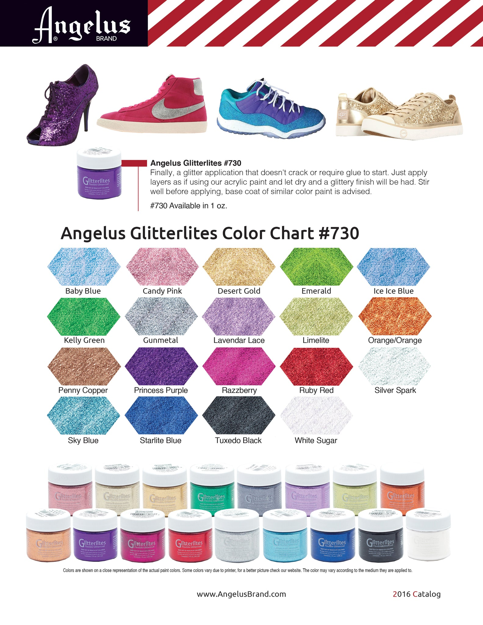 Angelus Glitterlites Paint Color Chart
