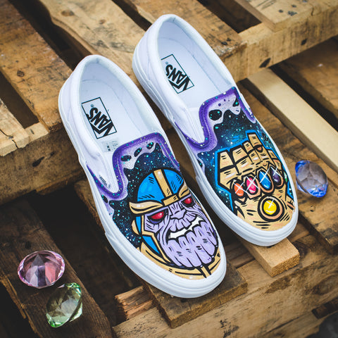 3424094aa72e Custom Avengers Slip-On Vans with SAVE THE PANDUHS