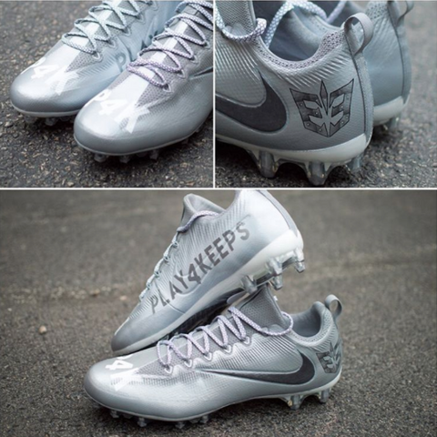 018097569aed Longtime Angelus Direct sponsored artist DeJesus Custom Footwear Inc. did  these Play 4 Keeps customs for Detroit Lions  tight end Eric Ebron.