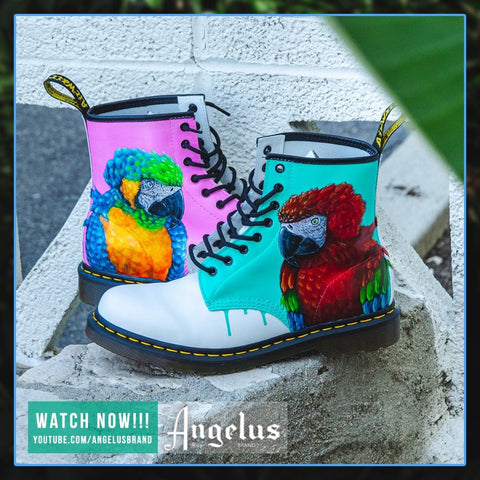 How to Customize Dr Martens Boots | Realistic Parrot | Angelus Paint