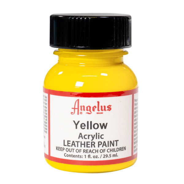 Angelus Yellow Paint is the only Acrylic Leather Paint you need for you custom sneaker projects.