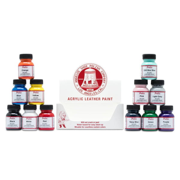 Angelus Direct's 12 Color Assortment Kit is perfect for your custom sneaker needs.