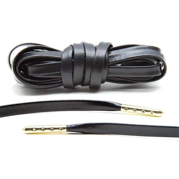 Black Luxury Leather Laces - Gold Plated