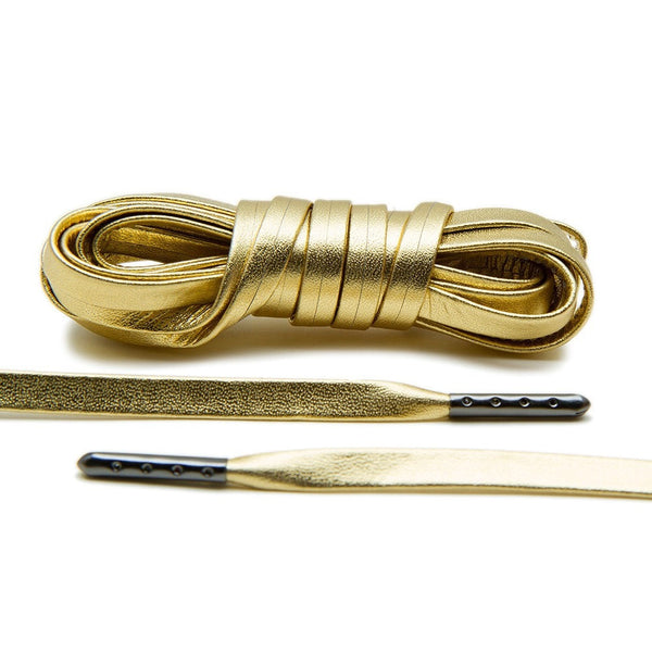 Gold Luxury Leather Laces - Gunmetal Plated