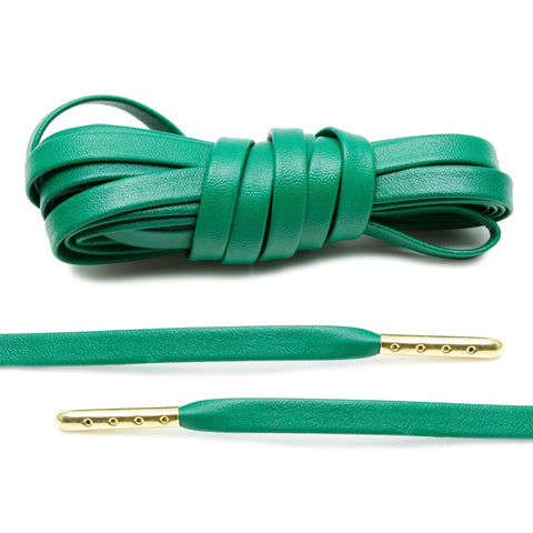 Kelly Green Luxury Leather Laces - Gold Plated