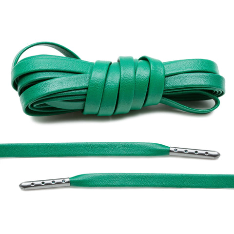 Kelly Green Luxury Leather Laces - Gunmetal Plated