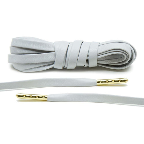 Light Grey Luxury Leather Laces - Gold Plated