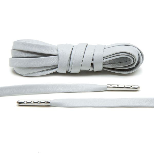 Light Grey Luxury Leather Laces - Silver Plated