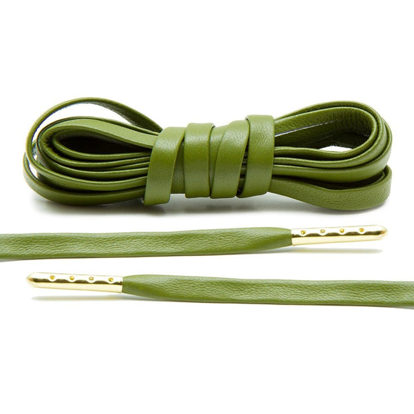 Olive Luxury Leather Laces - Gold Plated