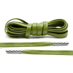 Olive Luxury Leather Laces - Gunmetal Plated