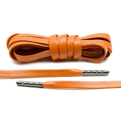 Orange Luxury Leather Laces - Gunmetal Plated