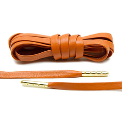 Orange Luxury Leather Laces - Gold Plated