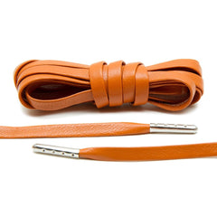 Orange Luxury Leather Laces - Silver Plated
