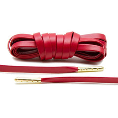 Red Luxury Leather Laces - Gold Plated