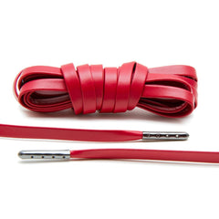 Red Luxury Leather Laces - Gunmetal Plated