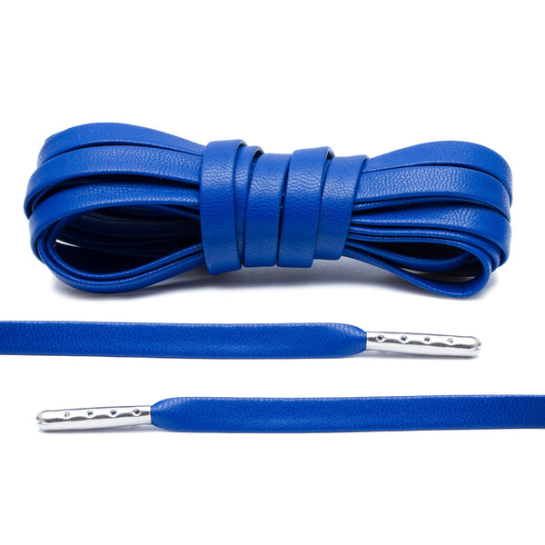 Royal Blue Luxury Leather Laces - Silver Plated