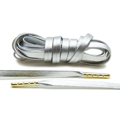 Silver Luxury Leather Laces - Gold Plated