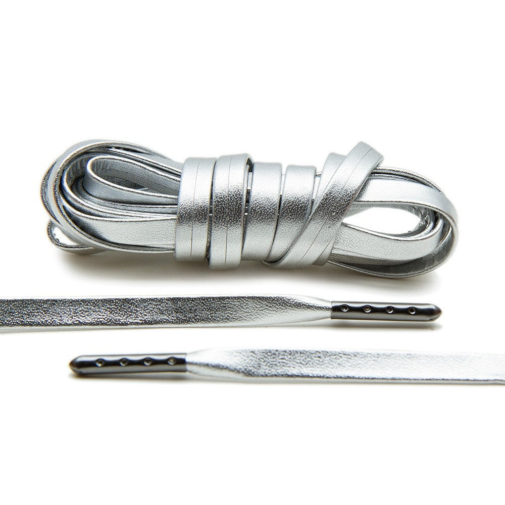 Silver Luxury Leather Laces - Gunmetal Plated