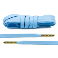 University Blue Luxury Leather Laces - Gold Plated