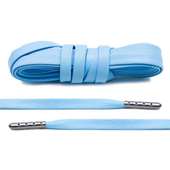 University Blue Luxury Leather Laces - Gunmetal Plated