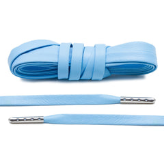 University Blue Luxury Leather Laces - Silver Plated