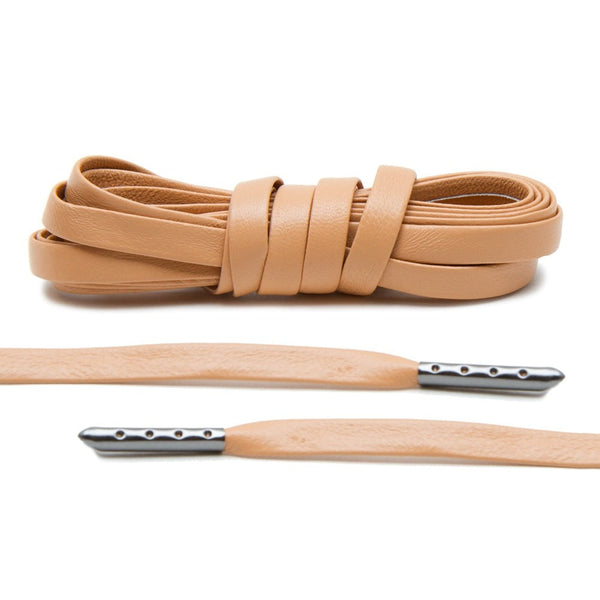 Tan Luxury Leather Laces - Gunmetal Plated