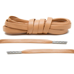 Tan Luxury Leather Laces - Silver Plated