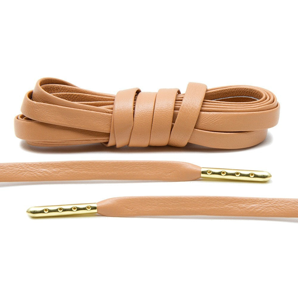 f6535d5ba3a1c8 Tan Luxury Leather Laces - Gold Plated
