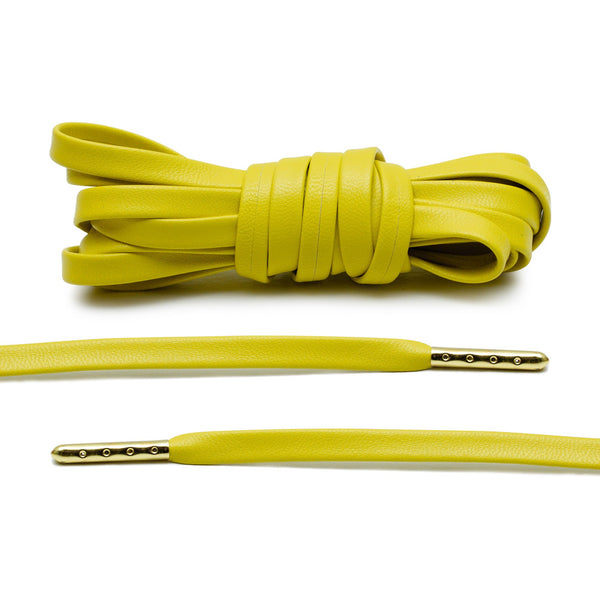 Yellow Luxury Leather Laces - Gold Plated